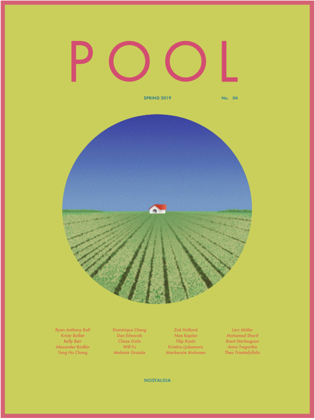 Front cover of the most recent issue of POOL, a bright green cover with a circle framing a house in a field