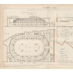 Drawing from 1881 of the electric lighting plan for the Hippodrome de l'Alma in Paris