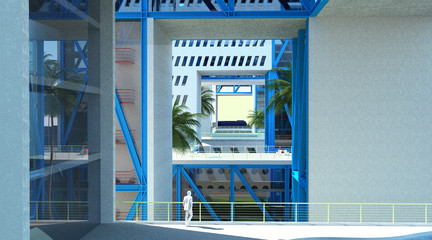 Rendering of a blue building with cut out view