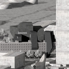 Rendering of a brutalist-looking building in black and white