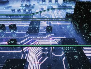Digital rendering of a futuristic datacenter.