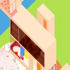 Rendering of brightly colored, 2D abstract building.