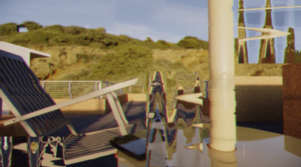 Video still from final student project showing distorted view of a chair on a deck.