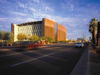 Exterior shot of Phoenix Central Library, an iconic structure that straddles Interstate 10 in Phoenix.