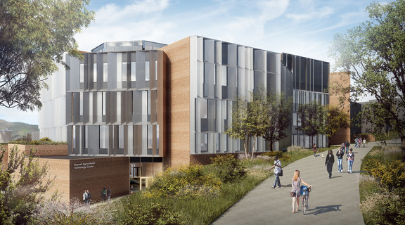 Rendering of the Science and Agriculture Teaching and Research Complex (SATRC) building at Cal Poly San Luis Obispo, a bi-level building with slanted grey facade elements.