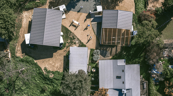 Aerial shot of a group of buildings