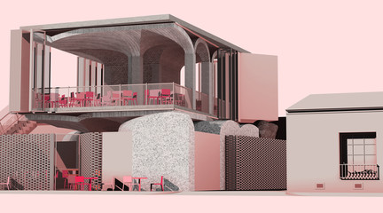 Rendering of a pink colored restaurant