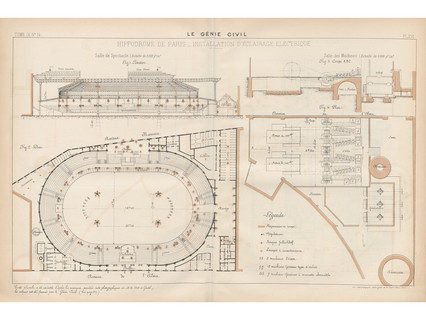 Image of an architectural drawing from 1881 showing electric lighting at Hippodrome de l'Alma in Paris.