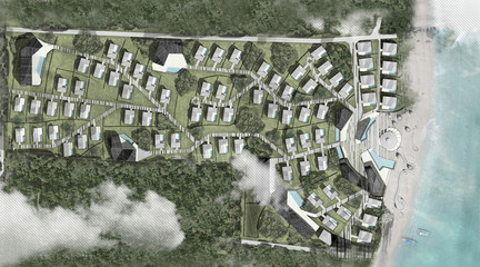 Aerial view of a rendering of a master plan for a luxury waterfront resort surrounded by jungle