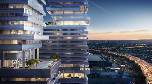 Close up rendering of a multi-story, mixed-use building looking towards downtown Los Angeles