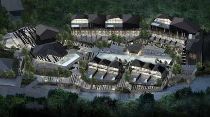 Oblique view of a rendering of a masterplan of a resort in a tropical location surrounded by waterways