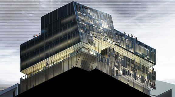 Worm's Eye view of a rendering of a dark angular building