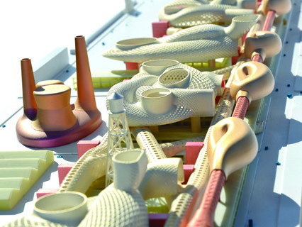 Model of The Architectural Imagination, a speculative project to redesign Detroit's Packard Plant — a historic, abandoned automobile factory.