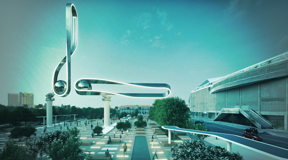 Rendering of a Kinetic Obelisk, a metal balance structure in a courtyard