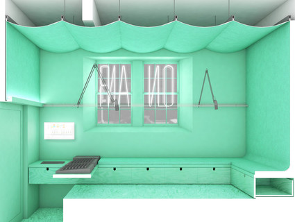 Image of Radio Room in Highbridge Media Lab, with modular superfurniture that enables students and teachers to rapidly reconfigure their space.