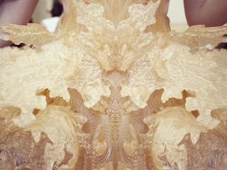 Close up of 3D printed dress