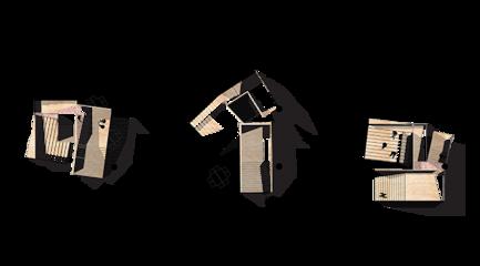 Three aerial views of a model
