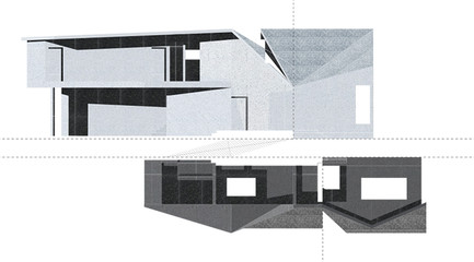 rendering showing two houses, one upside down beneath the other