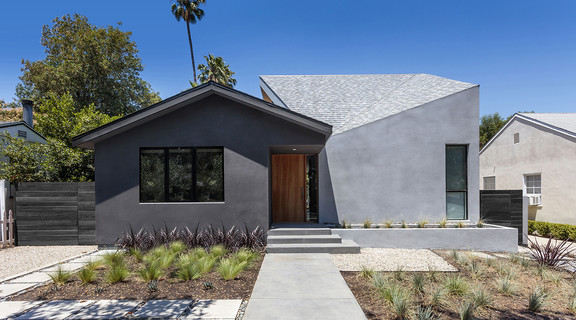 Exterior shot of a house with an angular roof
