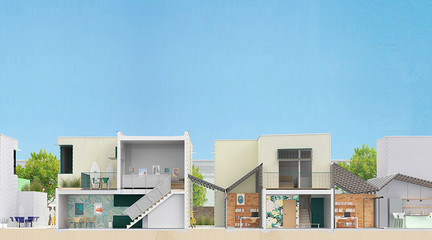 Rendering of a front section of Little Berkeley a low-rise affordable housing project in Santa Monica