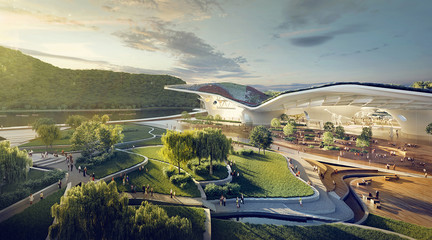 Rendering of the exterior of a concept for a museum and park landscape in Suzhou, China