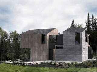 Angular wood house in a forest setting
