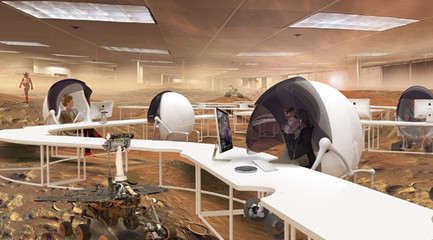 Rendering of a workspace with people working in individual white pods