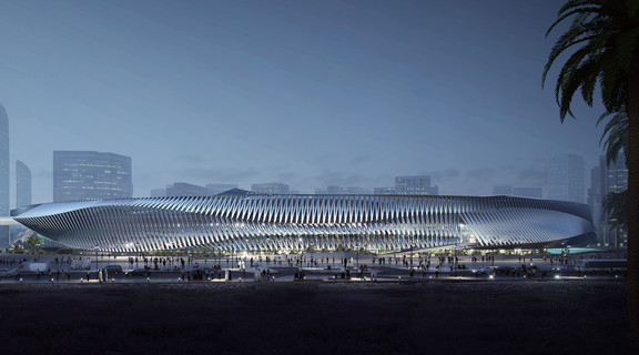 Image of a futuristic looking station for the Hyperloop high speed transportation