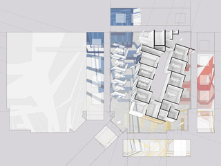 Aerial drawing of a colorful pediatric dental clinic