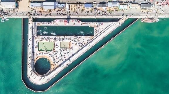 Aerial view of Aarhus Harbor Bath