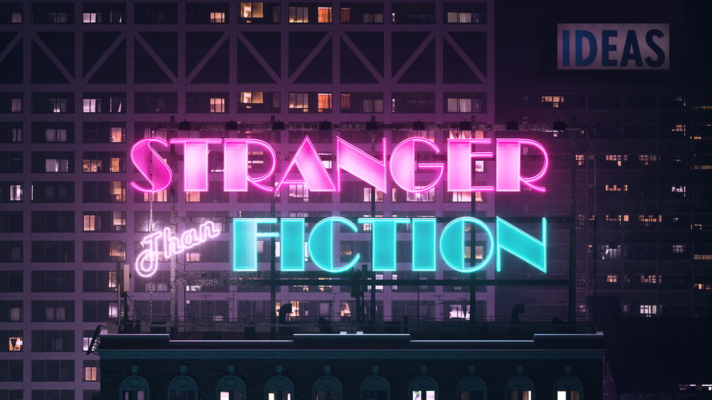 Event image for Stranger than Fiction, text against the background of a building