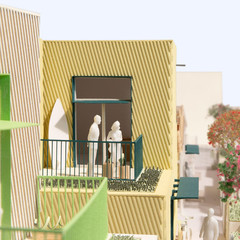 Rendering of a low-level low-income housing complex
