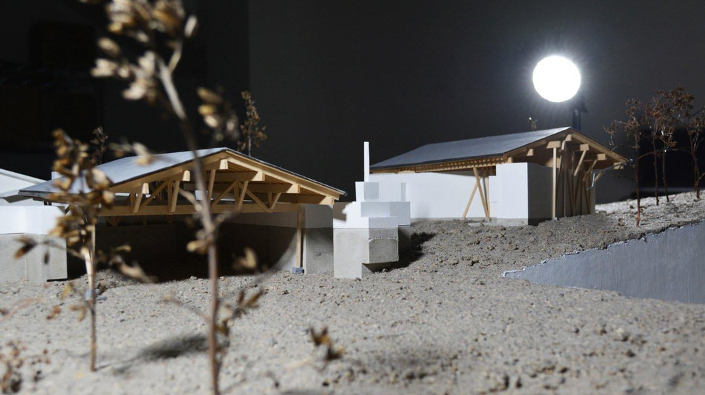 Model of a house at night