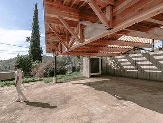 Shot of garage and wooden roof