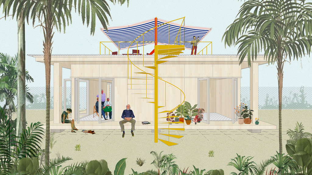 Rendering of an ADU design featuring a simple geometric structure that is elevated above grade