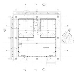 Plan of an ADU design featuring a simple geometric structure that is elevated above grade