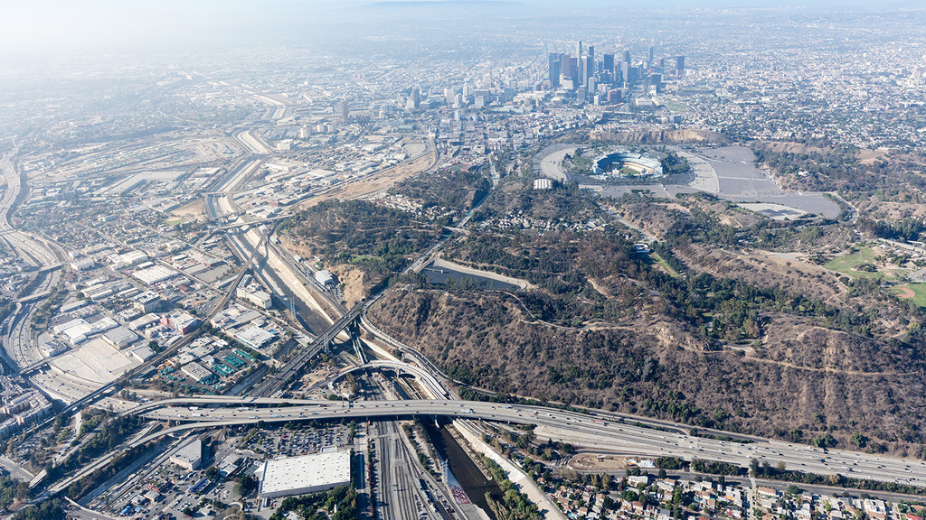 Photograph of Los Angeles looking over the freeway towards downtown