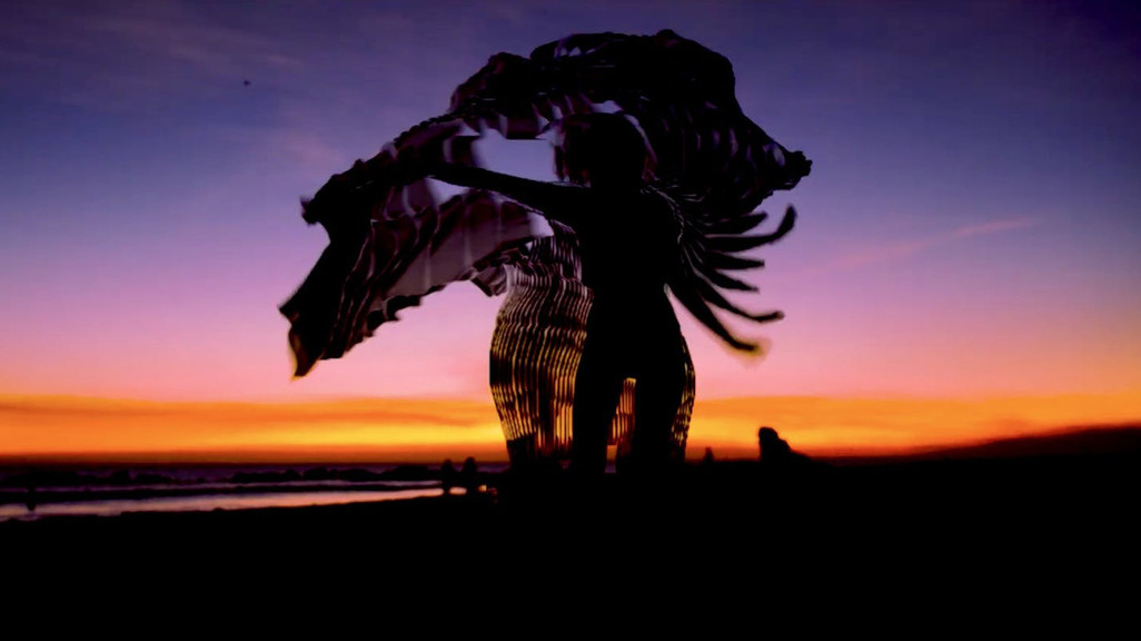 Screenshot from a film showing an installation on a beach at sunset
