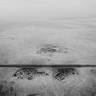 Aerial shot of a building sunken into the ground