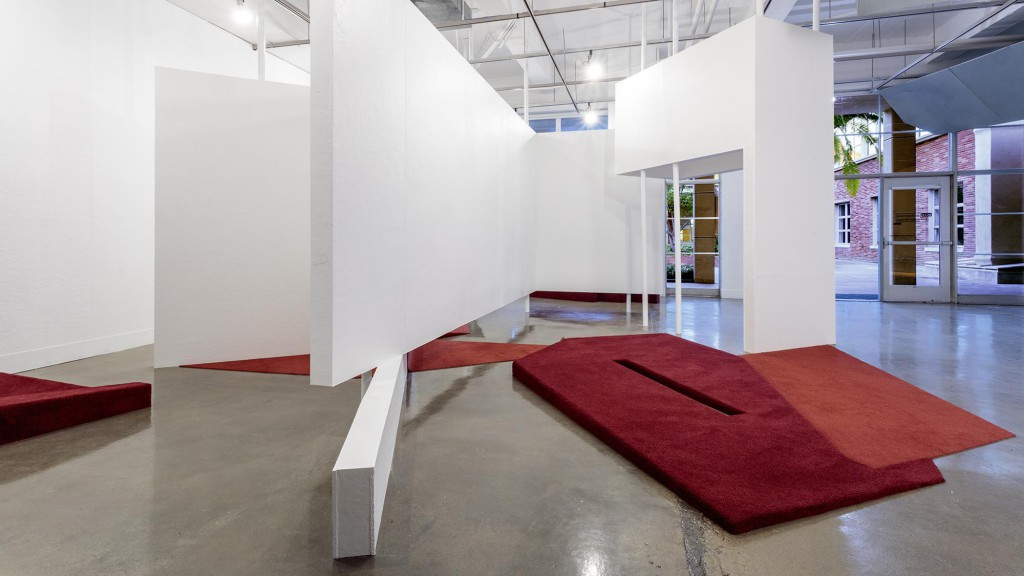 Photograph of Superposition installation in the Perloff Hall Gallery