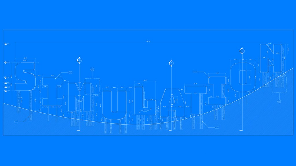 Diagrammatic image of the word SIMULATION against a blue background