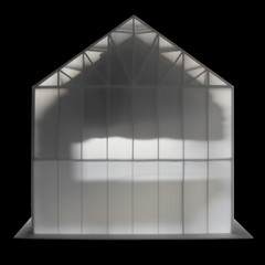 Side view of a translucent house in black and white