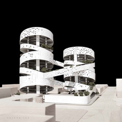 Rendering of circular white building