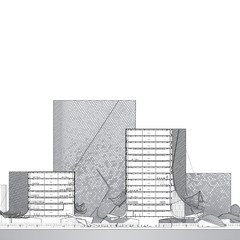 Renderings and drawings in black and white