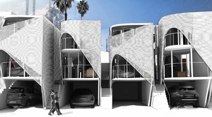 Rendering of futuristic apartment buildings