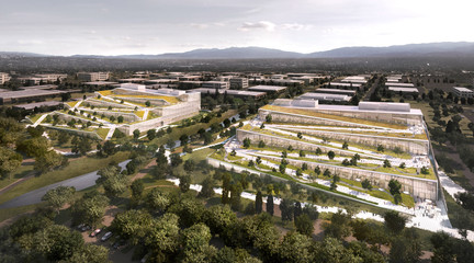 Rendering of a large tech campus surrounded by trees