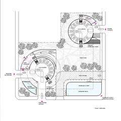Plan of circular buildings and courtyard