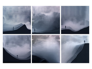 Six images of a person standing on a mountain in a cloud