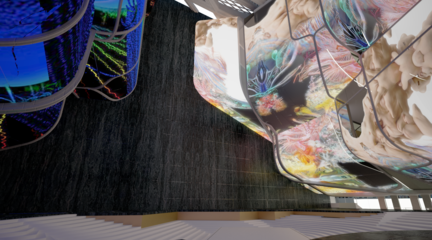 Rendered perspective of atrium showing projections on the undulating walls.