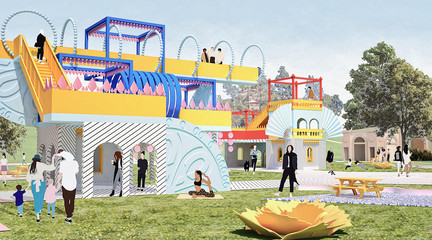 Rendered perspective of project sitting on a lawn with people interacting.